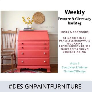 "Hello and Welcome to the WEEK 4 of our ""Feature & Giveaway"" hashtag #designpaintfurniture . We believe that furniture isn't just about painting, but designing and styling as well. And we want to bring together all artists, creators, painters, DIYers to this TRIBE. 🍁This week's winner is @thirteen79design. She will be our guest host this week and winner of prize from @redesignwithprima 🍁Make sure you tag your pieces with our hashtag #designpaintfurniture and FOLLOW ALL HOSTS/CO-HOSTS : @click2restore @dlawlesshardware @mudpaint @redesignwithprima @surfprepsanding @zibrapainting @thirteen79design Each week we will pick a winner from the hashtag who will be our guest-host and prize winner. We look forward to seeing your beautifully designed pieces."