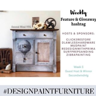 "Hello and Welcome to the WEEK 3 of our ""Feature & Giveaway"" hashtag #designpaintfurniture . We believe that furniture isn't just about painting, but designing and styling as well. And we want to bring together all artists, creators, painters, DIYers to this TRIBE. 🍁This week's winner is @secondwindvtg. She will be our guest host this week and winner of prize from @mudpaint 🍁Make sure you tag your pieces with our hashtag #designpaintfurniture and FOLLOW ALL HOSTS/CO-HOSTS : @click2restore @dlawlesshardware @mudpaint @redesignwithprima @surfprepsanding @zibrapainting @secondwindvtg Each week we will pick a winner from the hashtag who will be our guest-host and prize winner. We look forward to seeing your beautifully designed pieces."
