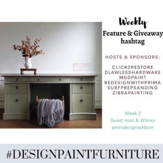 "Hello and Welcome to the WEEK 2 of our ""Feature & Giveaway"" hashtag #designpaintfurniture . We believe that furniture isn't just about painting, but designing and styling as well. And we want to bring together all artists, creators, painters, DIYers to this TRIBE. 🍁This week's winner is @aminidesignashburn. She will be our guest host this week and winner of prize from @dlawlesshardware 🍁Make sure you tag your pieces with our hashtag #designpaintfurniture and FOLLOW ALL HOSTS/CO-HOSTS : @click2restore @dlawlesshardware @mudpaint @redesignwithprima @surfprepsanding @zibrapainting @aminidesignashburn Each week we will pick a winner from the hashtag who will be our guest-host and prize winner. We look forward to seeing your beautifully designed pieces."