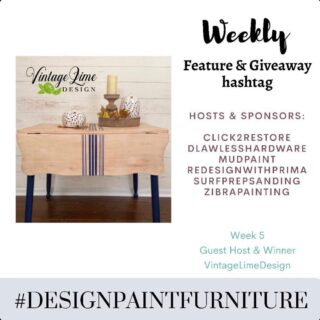 "Hello and Welcome to the WEEK 5 of our ""Feature & Giveaway"" hashtag #designpaintfurniture . We believe that furniture isn't just about painting, but designing and styling as well. And we want to bring together all artists, creators, painters, DIYers to this TRIBE. 🍁This week's winner is @vintagelimedesign. She will be our guest host this week and winner of prize from @surfprepsanding 🍁Make sure you tag your pieces with our hashtag #designpaintfurniture and FOLLOW ALL HOSTS/CO-HOSTS : @click2restore @dlawlesshardware @mudpaint @redesignwithprima @surfprepsanding @zibrapainting @vintagelimedesign Each week we will pick a winner from the hashtag who will be our guest-host and prize winner. We look forward to seeing your beautifully designed pieces."